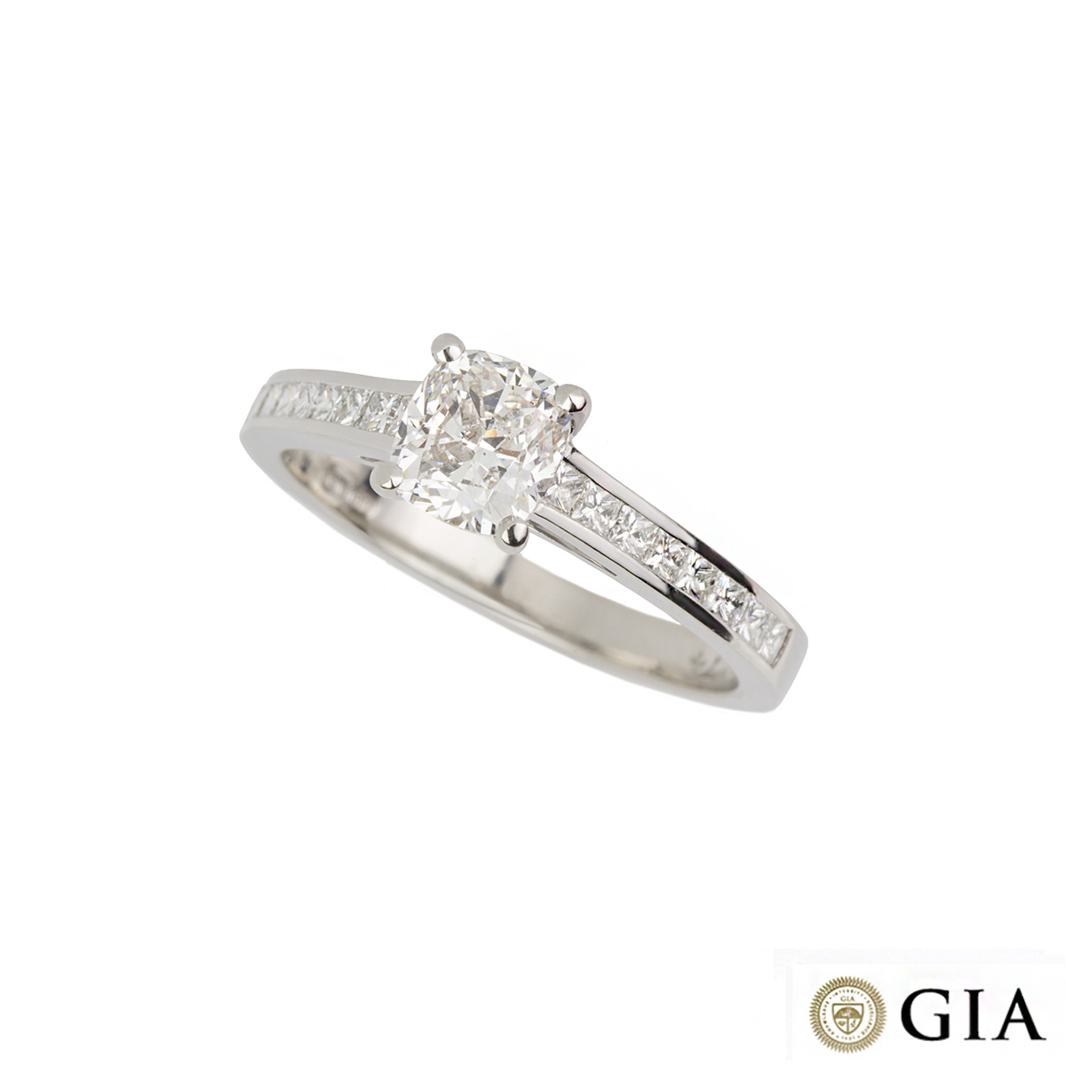 Cushion Cut Diamond Ring in Platinum 0.74ct G/VS1